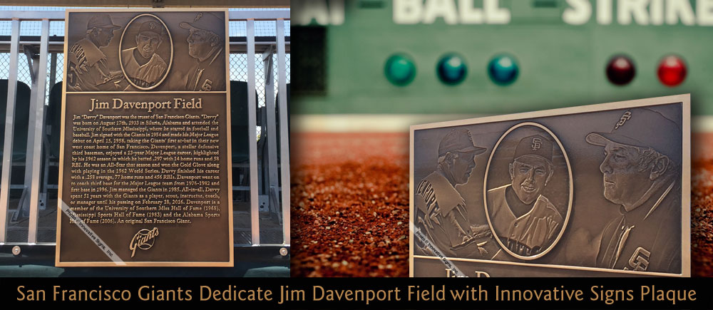A new minor league facility in Phoenix was dedicated to Jim Davenport, of the San Francisco Giants, with this 24x36 machine engraved bronze plaque with 3D PhotoRelief� graphics.