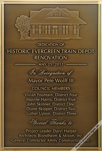 Evergreen_Train_Plaque_Engraved_Bronze_Government_Facility_Plaque